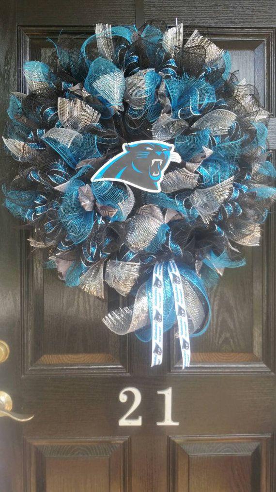 Large Mesh Ribbon Carolina Panthers NFL Pro by DesignTwentyNineSC