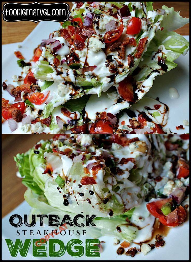 Outback Steakhouse copycat wedge salad. The closest thing I have EVER tasted to the real deal. The balsamic vinegar reduction sends it over the top! Ice cold, crisp lettuce, creamy dressing, crunchy bacon... drop the mic!