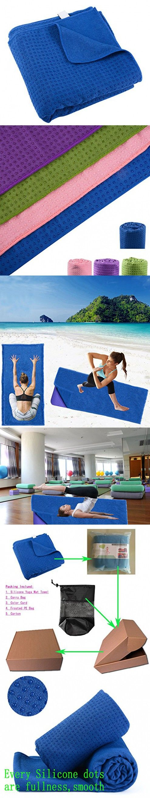 """Yoga Mat Towel 100% Microfiber with Silicone Beads Blue (72""""x26"""") Ultra Absorbent Anti-slip Fast Drying with Ultra Firm Grip for Hot Yoga Pilates Workout Exercise with Free Carry Bag"""