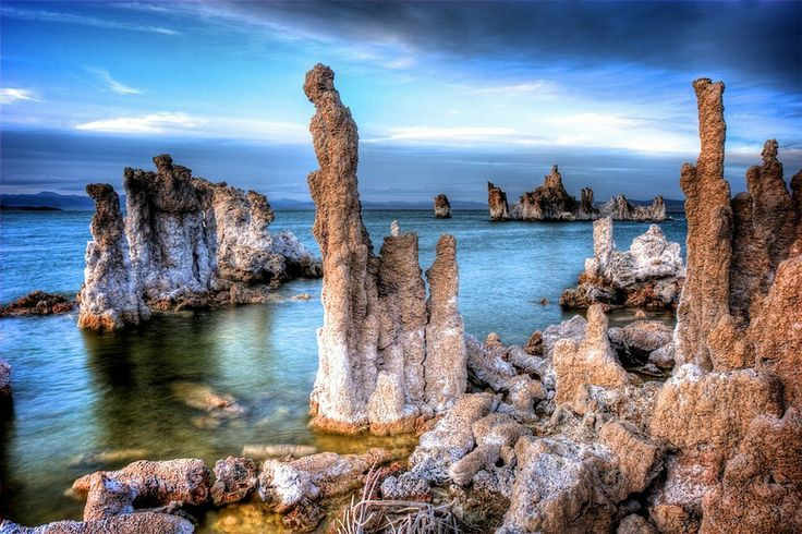 The tufa towers of Mono Lake, CA  are made of limestone that is created when the calcium rich springs under it mix with the very salty and carbonate rich lake water.