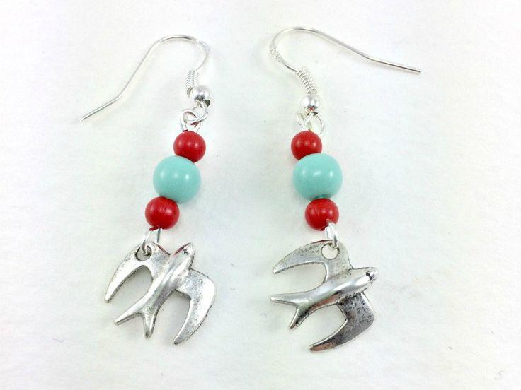 Rockabilly Kitsch Silver swallow Beaded Earrings 1950s Retro by KitschBride on Etsy