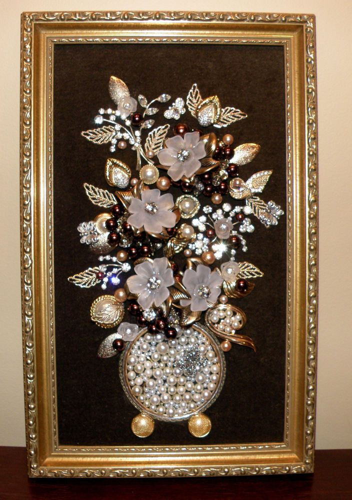 Large Original Framed Vintage Jewelry Art Flower Vase