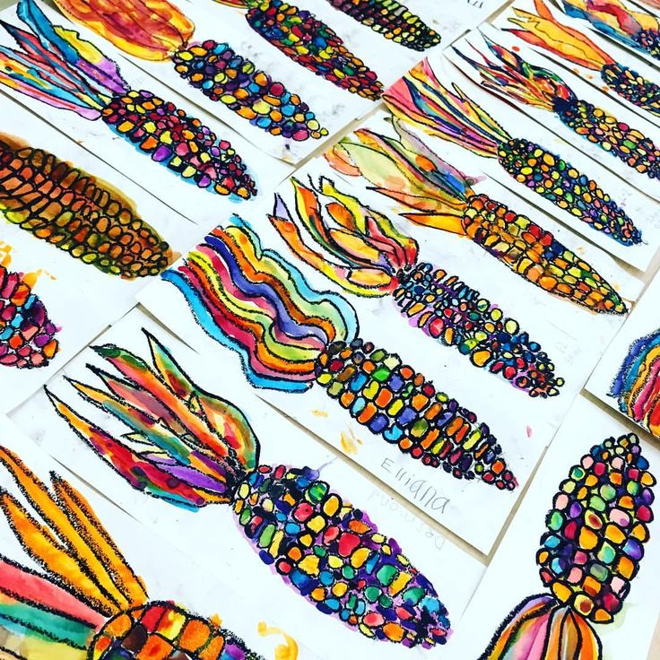 Watercolor corn finished. Just need to be cut out… #colorfulcorn #autumnart #f…