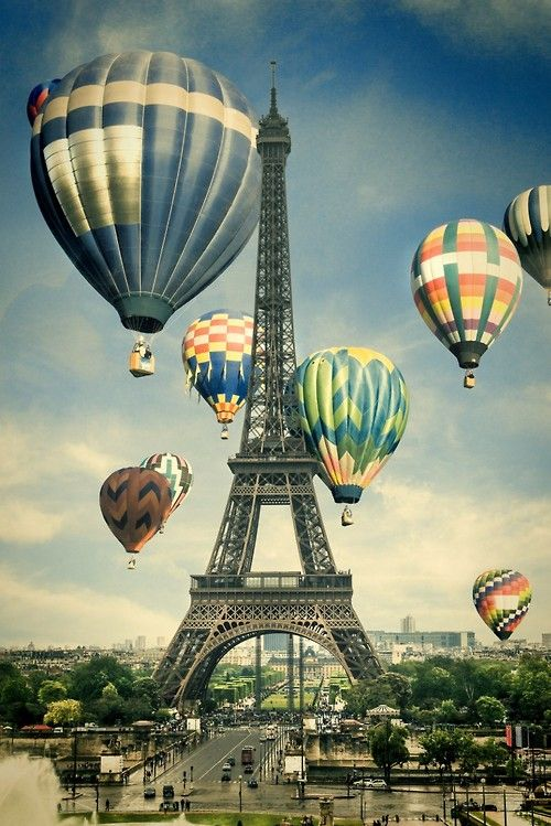 Desparecido, Paris - Hot Air #Balloon http://llbwwb.tumblr.com/post/100474264979/via-eiffel-tower-inspiration-by-babouch