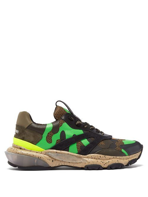 a7dd24b5a VALENTINO VALENTINO - BOUNCE RAISED SOLE LOW TOP LEATHER TRAINERS - MENS -  MULTI.