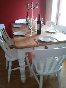 Shabby Chic oblong kitchen/dining table and 6 chairs Farrow  Ball White Tie 200   eBay