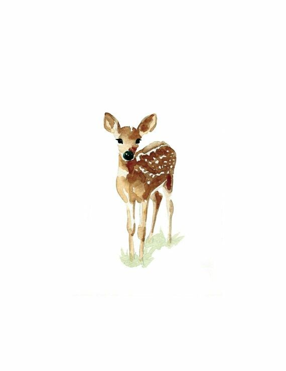 Baby watercolor deer