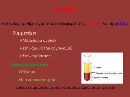 Το αίμα Συμμετέχει:  Μεταφορά ουσιών  Στην άμυνα του οργανισμού  Στην αιμόσταση Αποτελείται από:  Πλάσμα  Κυτταρικά στοιχεία (ερυθρά αιμοσφαίρια,