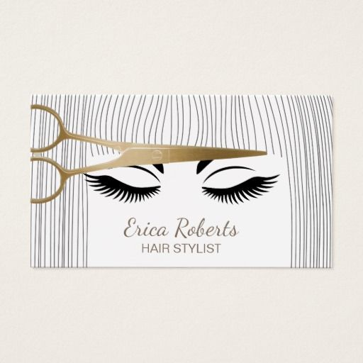 247 best hairstylist business cards images on pinterest hair stylist gold scissor girl hair salon business card wajeb Image collections