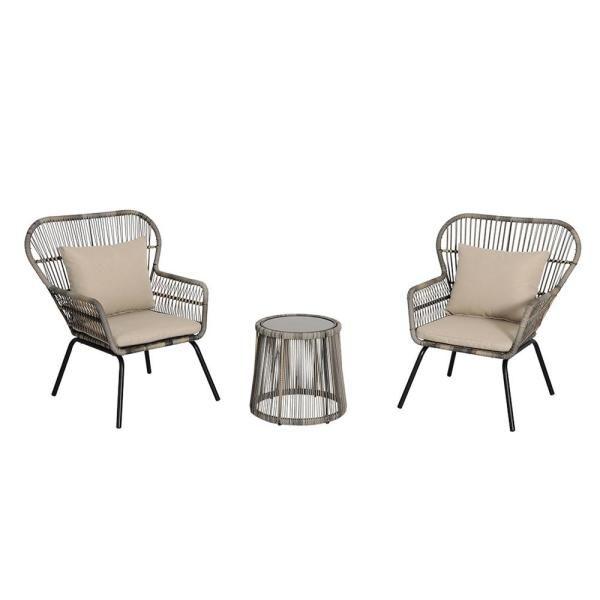 Piece Wicker Patio Conversation Set, 3 Piece Wicker Patio Conversation Set With Beige Cushions