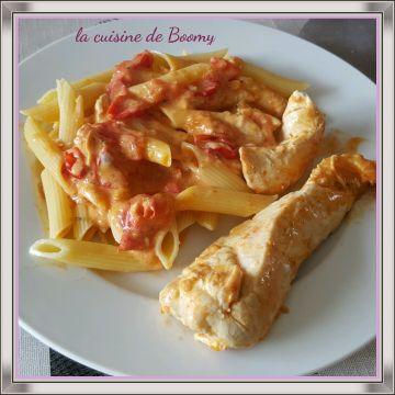 Aiguillettes de poulet aux tomates cerises et fromage frais WW