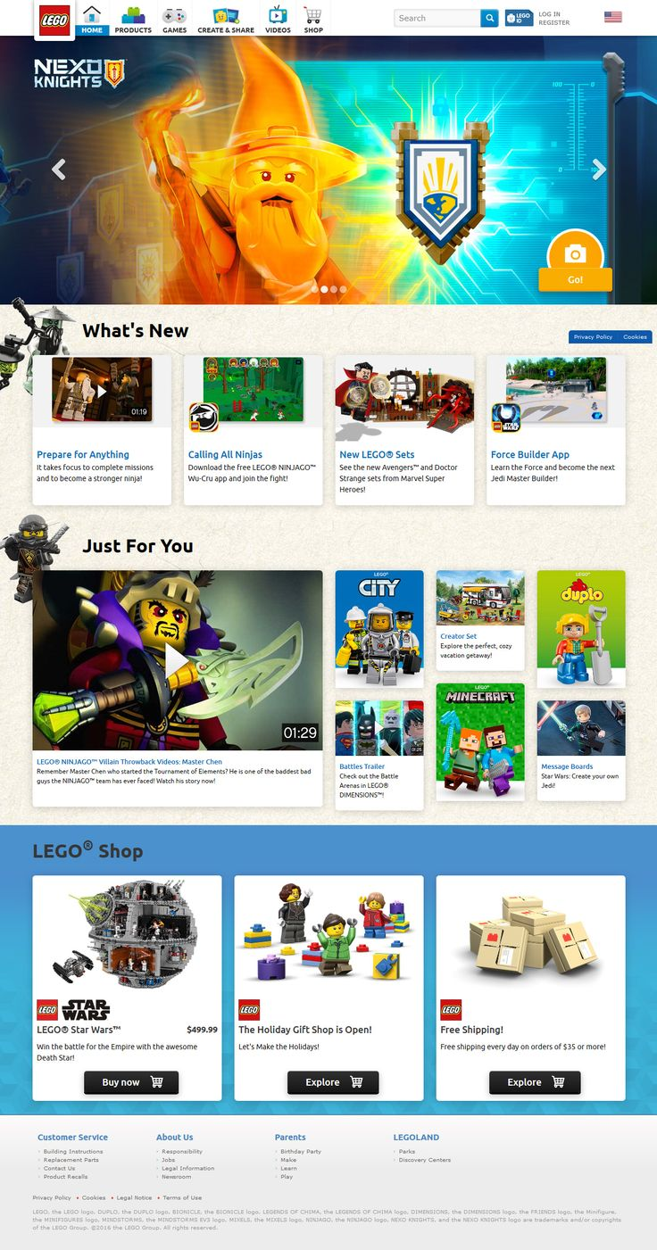 Lego website 2016
