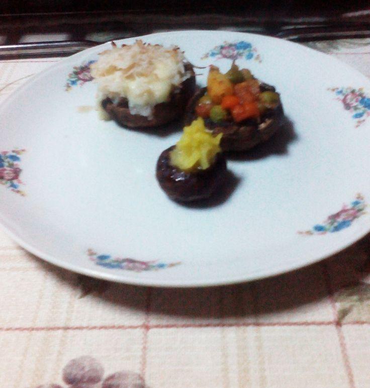 Trio Champignon - bacon&mozarella; rice with curry ; vegetable mix