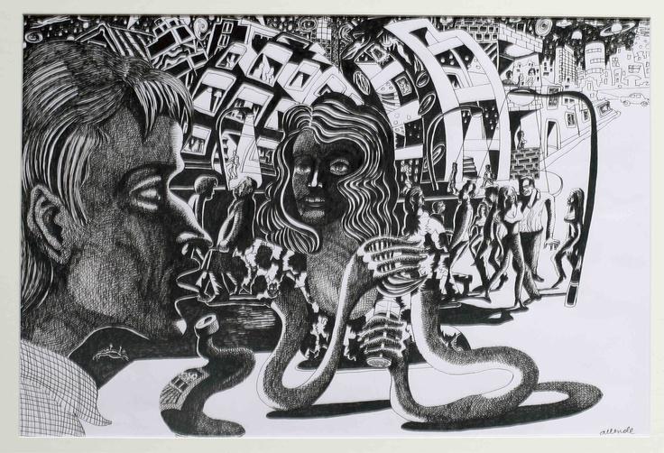"""Fernando Allende Bellido, """"La Cita"""", tinta sobre papel."""