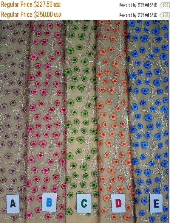 Indian fabric raw silk fabric Indian fabric embroidered fabric floral fabric-Width 44 inches-Price for 10 yards-IDF32