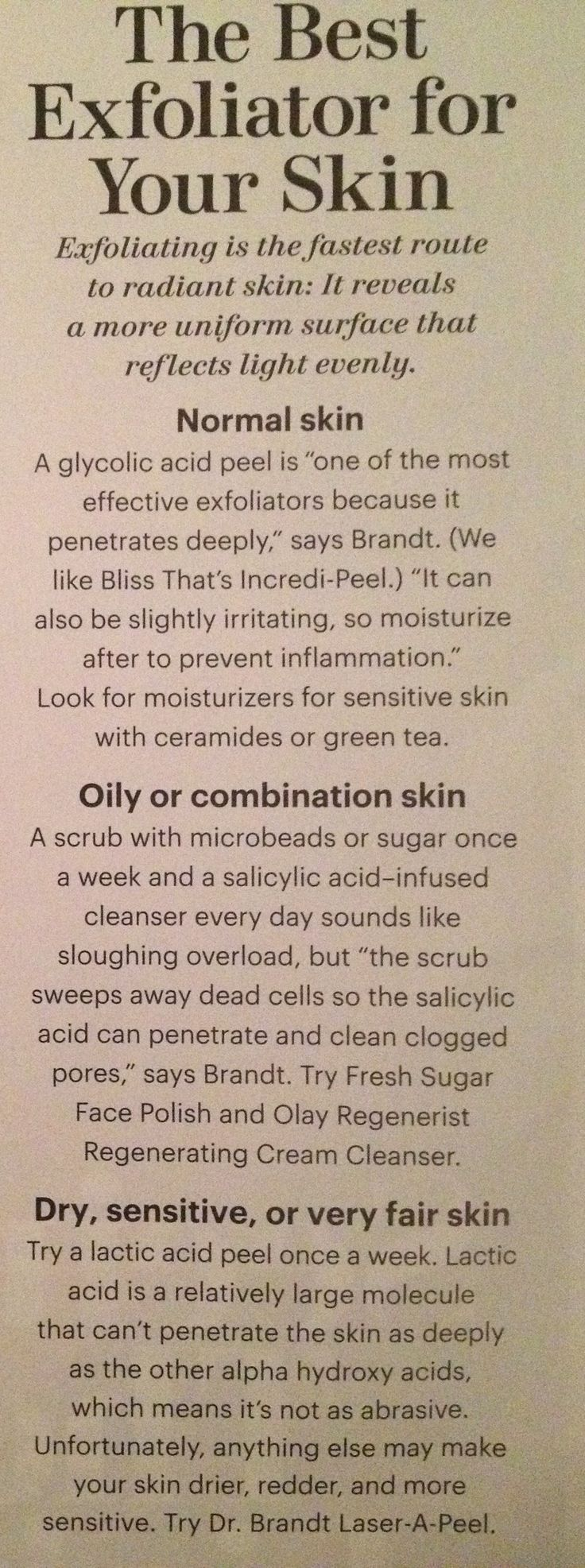 best exfoliators - lactic acid peel weekly