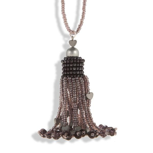 Handmade Purple Gray Silver Shimmering Beaded Tassel Necklace - Anthos Crafts - 1