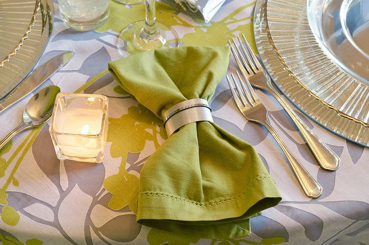 For the Urban Garden themed tablescape, the hand-crafted metal napkin rings are one way we balanced the feminine floral linen with industrial touches. [design & decor by FestivitiesMN.com]