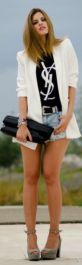 Ohkko Black And White Ysl Women's Tee Shirt by Ms Treinta