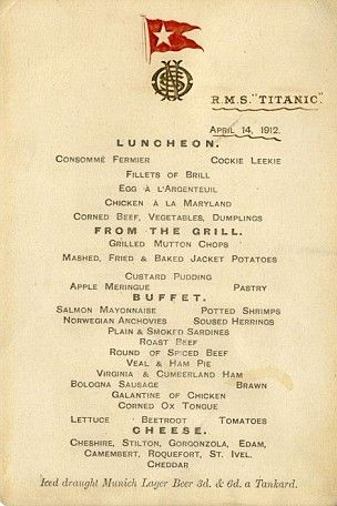 First class Titanic menu from ship's last lunch sells for $121,785