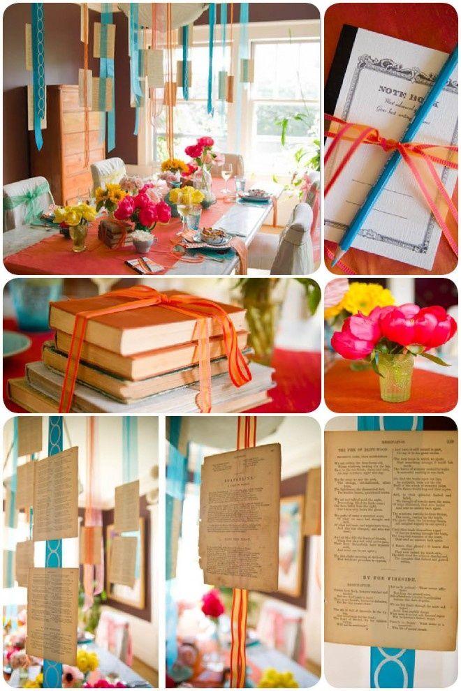 Quem ama livros, sonha em ter uma verdadeira biblioteca particular… e por que não integrar esse hobby à decoração da festa? Um objeto tão simples, fácil de ser encontrado e que dá um ar espec…