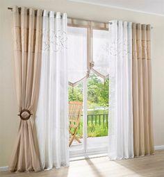 Projeto bordado cortinas para sala / quarto janela fininshed tecido tule de organza rústico cortinas para