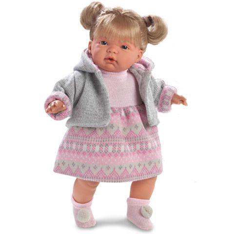 Ruth szőke síró baba szürke kardigánban 38 cm