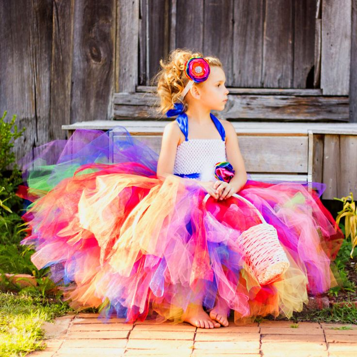 Sweet Candy Rainbow Flower Girl Tutu Dress for Birthday Photo Wedding Party Festival Kids Halloween Costume TS052
