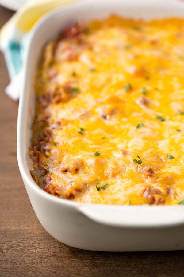 Overnight Mexican Breakfast Casserole Recipe - savory make ahead breakfast or brunch that also makes a good breakfast for dinner!