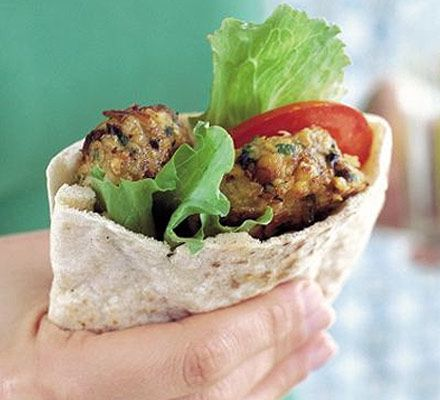 Low Calorie Healthy Falafals 2 tbsp sunflower or vegetable oil  1 small onion , finely chopped  1 garlic clove, crushed  400g can chickpeas , washed and drained  1 tsp ground cumin  1 tsp ground coriander (or use more cumin)  handful parsley , chopped, or 1 tsp dried mixed herbs  1 egg , beaten
