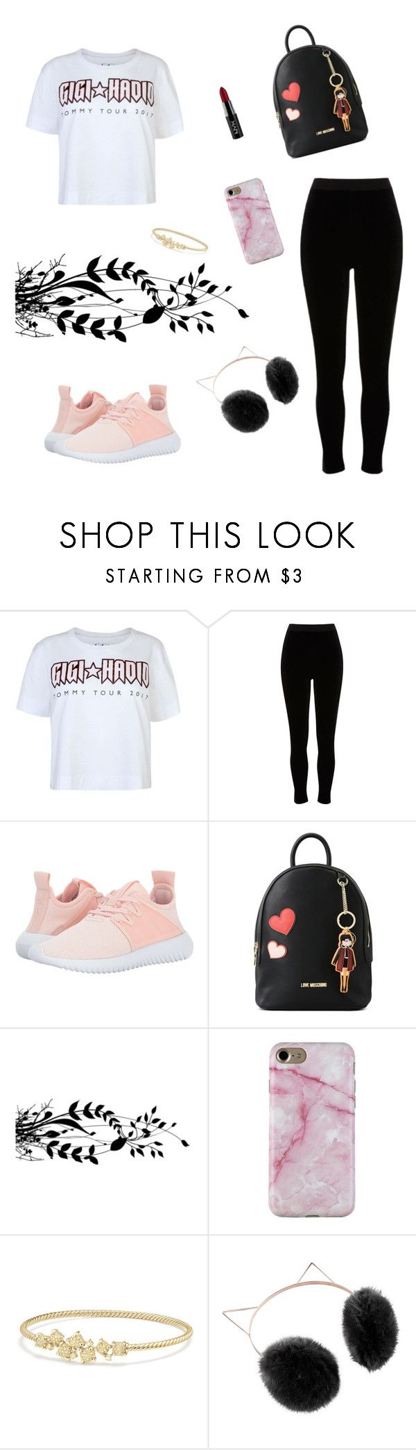 """""""cool"""" by benilounoma ❤ liked on Polyvore featuring Tommy Hilfiger, River Island, adidas Originals, Love Moschino, David Yurman, LC Lauren Conrad and NYX"""