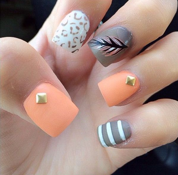 Cute animal print, stripes and feather nail art design. Paint your nails with these pretty pastel colors and design them in various patterns such as animal prints, stripes, and matte and of course feathers.