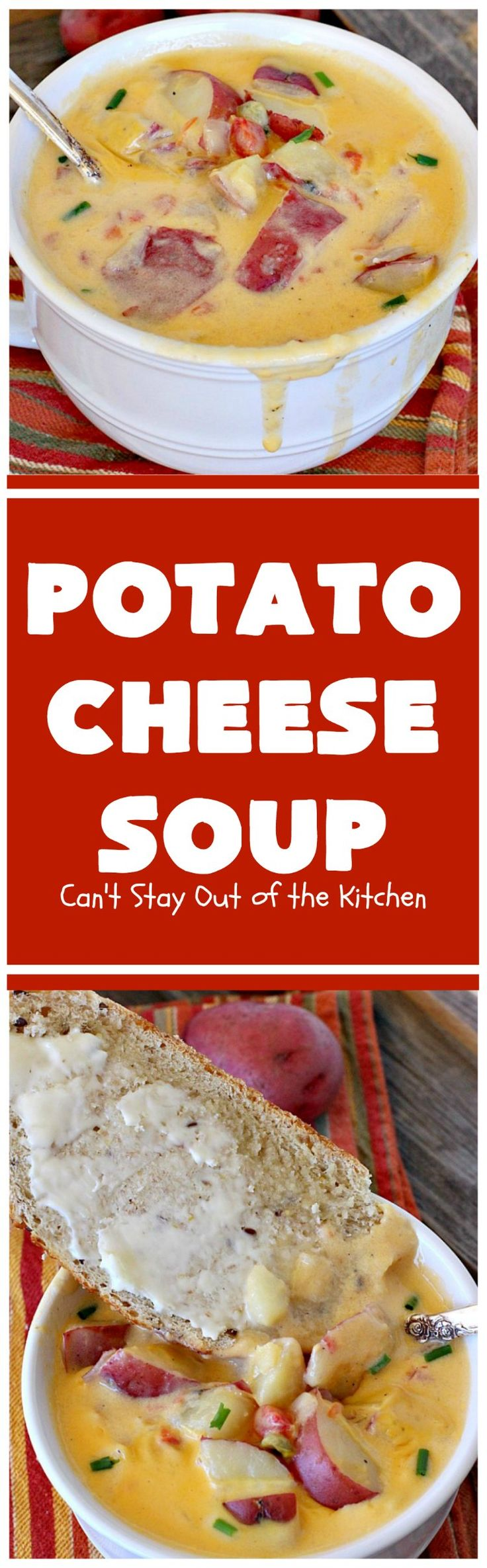 Potato Cheese Soup   Can't Stay Out of the Kitchen   this amazing #soup will soon become a favorite! Uses diced #tomatoes with green #chilies & #velveeta. Quick & easy, too. #glutenfree