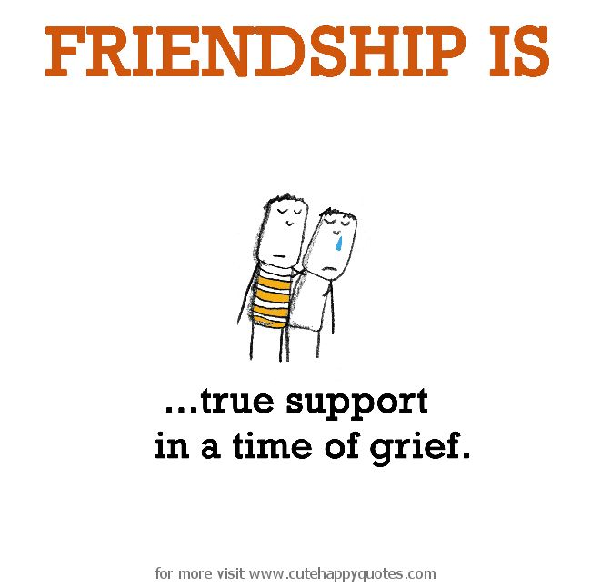 Friendship is, true support in a time of grief. - Cute Happy Quotes