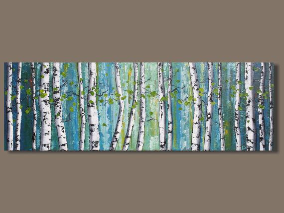 FREE SHIP abstract art birch trees painting by SageMountainStudio