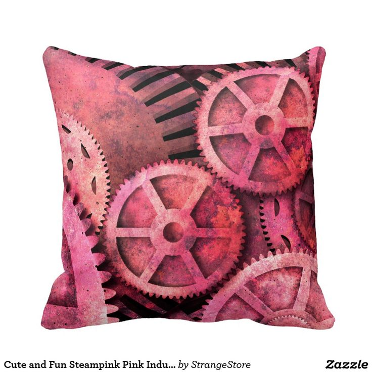 Cute and Fun Steampink Pink Industrial Steampunk Throw Pillows from #StrangeStore
