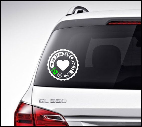 """Photography Camera Vinyl Lettering Car Decal / Bumper Sticker/ Laptop Decal  6"""" x 6"""" Heart Photography Camera"""