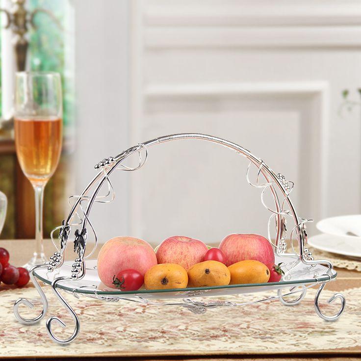==> [Free Shipping] Buy Best European banquet room glass fruit bowl iron fruit dish modern style dessert bread basket shelf flower basket Online with LOWEST Price   32811791595