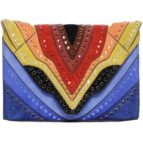 Elena Ghisellini Women Swarovski Crystals Felina Rainbow Bag ($2,610) ❤ liked on Polyvore featuring bags, handbags, clutches, rainbow, red purse, man bag, patchwork purse, hand bags and chain strap purse