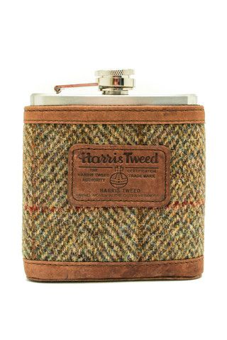 Harris Tweed Flask http://madeinsco.com/shop/6oz-blue-brown-herringbone-harris-tweed-hip-flask-made-in-scotland/  *great groomsmen gift