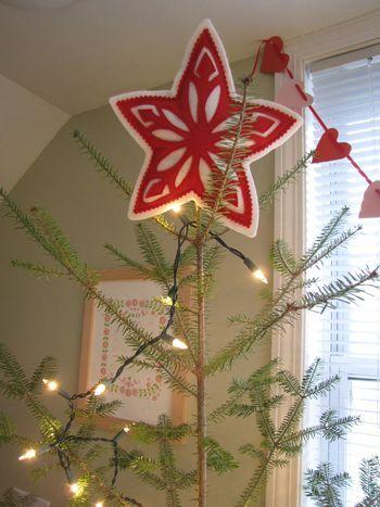 Scandinavian felt Christmas tree star. DIY. Free template