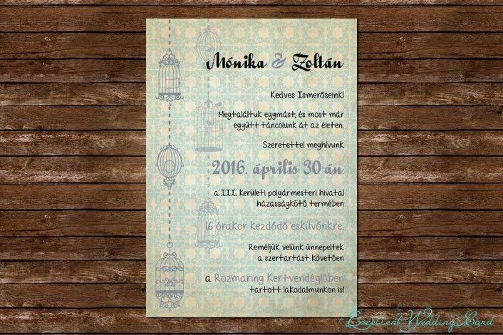 Fancy cage esküvői meghívó | Vintage kollekció | - esküvői meghívó - esküvői meghívó, meghívók, vintage esküvői meghívók, esküvői meghívó Budapest, esküvői meghívó online