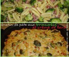 Recette Gratin de pâtes aux brocolis et crème de lard fumé par amandine passion momo - recette de la catégorie Pâtes & Riz