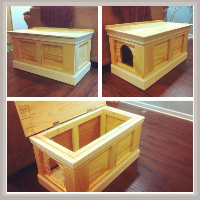 Dog Proof Odor Free Cat Litter Box Ottoman Hand Made From