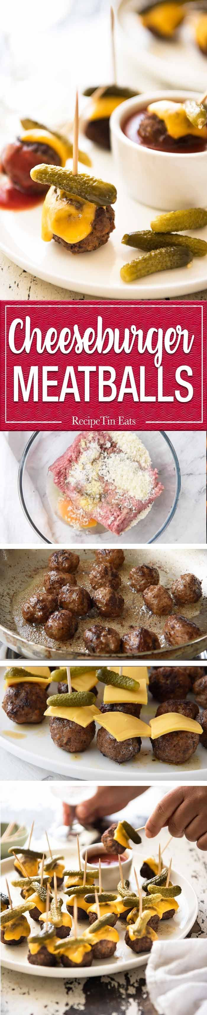 Cheeseburger Party Meatballs - tastes like a cheeseburger, in bite size form! Great for making ahead - fully assemble (inc toothpicks), 90 sec reheat in microwave. http://www.recipetineats.com