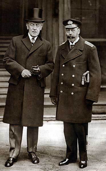 King George V of the United Kingdom with Woodrow Wilson, the 28th President of the United States