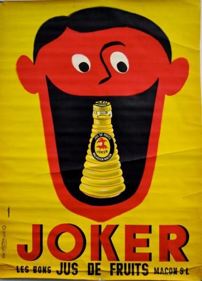 "¤ JOKER ""LE BON JUS DE FRUITS"", MÂCON . 1958 Imprimerie de la Vasselais, Paris - 156x113cm by Jacques Auriac"