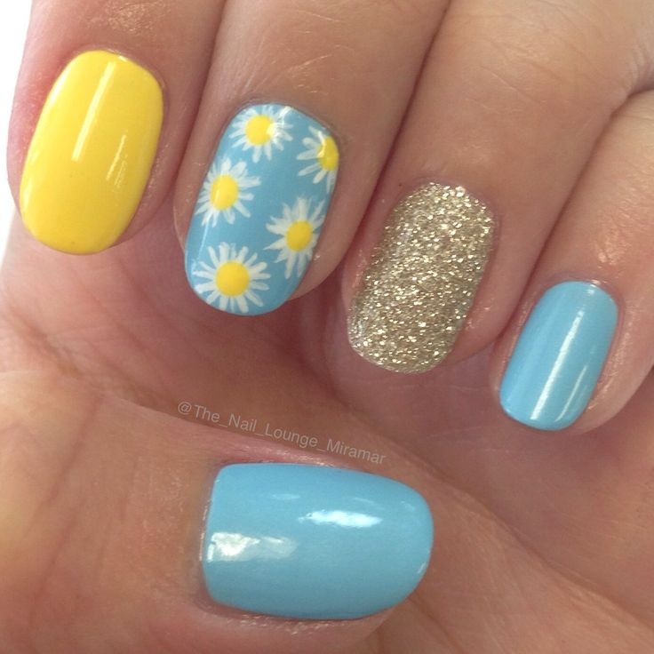 The 25 best yellow nails design ideas on pinterest yellow nails yellow blue sunflower nail art design prinsesfo Image collections