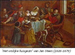 kooikerhondje 17e eeuw - Jan Steen, vrolijke huisgezin