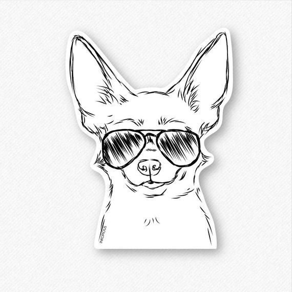Amos the Chihuahua Decal Sticker, Chihuahua Art, Gifts For